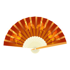 Folding fan. With a picture of the cock. 2017 fire rooster. illustration