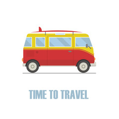 Time to travel concept. Hippie van isolated