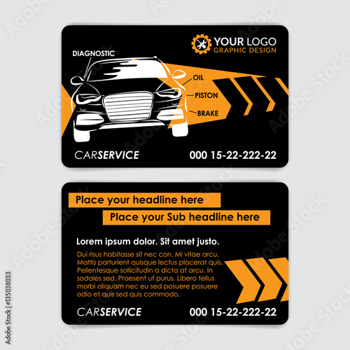 Auto repair business card template create your own business cards auto repair business card template create your own business cards mockup vector illustration cheaphphosting Choice Image