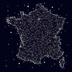 France. Map. Constellation. vector