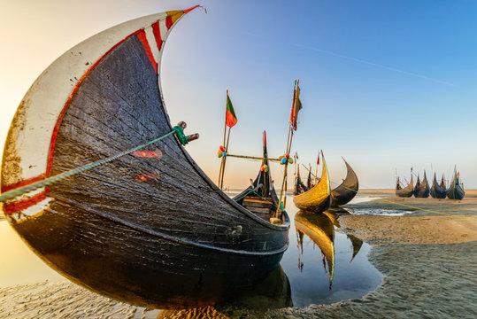 Watching Fishing boat at Sunrise in Bangladesh