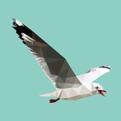 polygonal seagull, geometric polygon bird, isolated vector