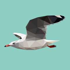 triangle polygonal seagull, geometric polygon bird, vector
