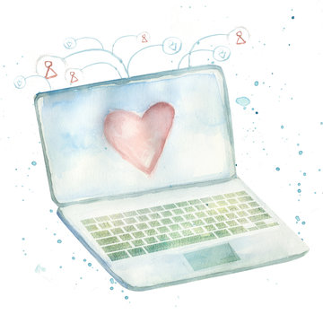 conceptual illustration of laptop with heart on display and connection icons of people