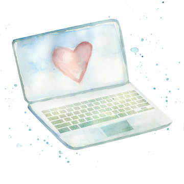 watercolor laptop with cute red heart on it's screen
