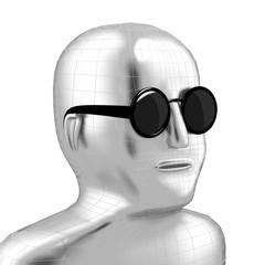3D head, sunglasses