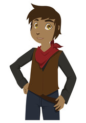 Cartoon young cowboy with jeans and red scarf posing for the camers