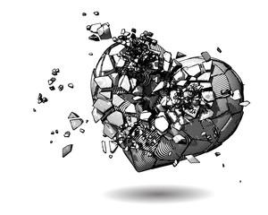 Broken heart drawing illustration on white BG