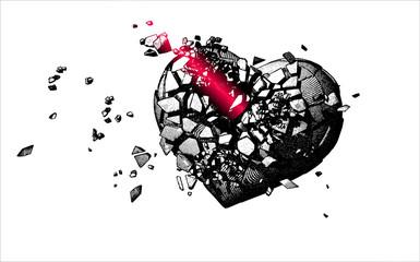 Monochrome engraving broken heart illustration