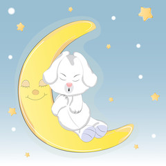 Cute dog who sleep on the moon.. A children's sketch