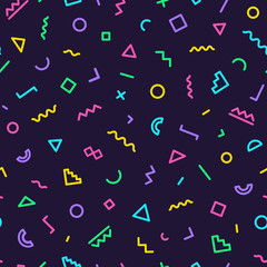 Memphis seamless pattern on dark background