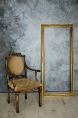 Luxury chair and frame in interior