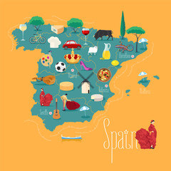 Map of Spain vector illustration, design