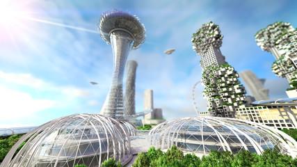 concept future city skyline. Futuristic business vision concept. 3d illustration