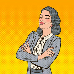 Pop Art Successful Business Woman with Her Eyes Closed. Vector illustration