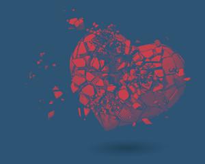 Broken heart drawing illustration on blue BG