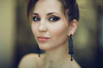 glamor portrait of a girl with makeup and cosmetics