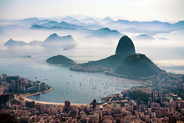 The Sugarloaf mountain in morning mist and Botafogo bay, Rio de Janeiro