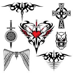 black red white tattoo set abstraction wing sword shield heart skull cross viking celtic vector