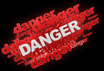Word danger. Image with clipping path