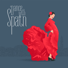 Flamenco dancer in red dress in visit Spain concept vector illustration
