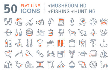 Set Vector Flat Line Icons Mushrooming, Fishing and Hunting