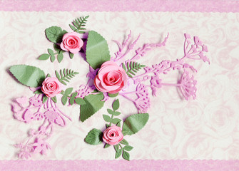 Decorative paper cards with rose and leaves