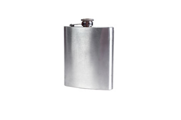Stainless hip flask isolated on a white background. Alcohol addiction.