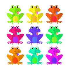 frog set of Flat style on white background isolated