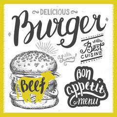 Burger food element for restaurant and cafe.