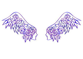 vector angel wings. profile human faces on the wings - hair