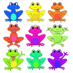 frog a set of different flowers isolated