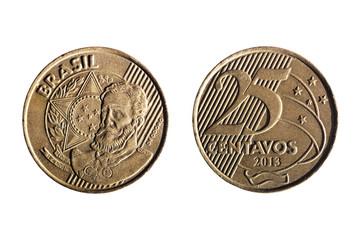 brazilian real twenty five cents coin