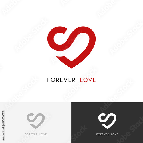 Forever Love Logo Red Heart And Infinity Symbol Valentine And
