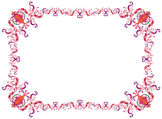 Decorative oriental frame for Purim festival invitation, anniversary. For Jewish Holiday Sukkot, Purim, Rosh Hashana, Pesah, wedding day, festive design. Ornamental frame. Ornate Border Vector Vintage