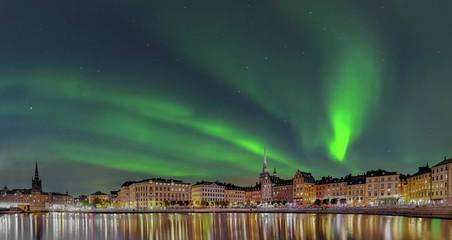 Foto op Aluminium Stockholm Stockholm Gamla Stan Nacht Nordlicht