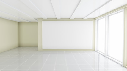 Blank white banner in modern empty office