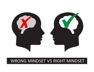 Wrong mindset vs Right mindset vector illustration