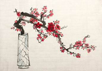 branch of blossoming plum