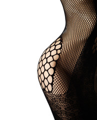 Perfect slim female body in black lingerie