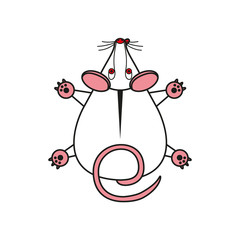 Cartoon vector mouse. mousy top view.