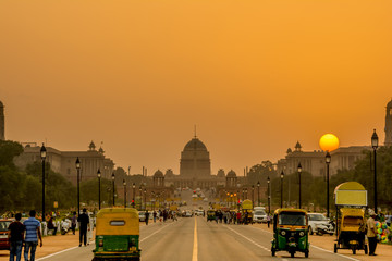 Wall Mural - Sunset nearby the Presidential Residence, Rashtrapati Bhavan, New Delhi, India.
