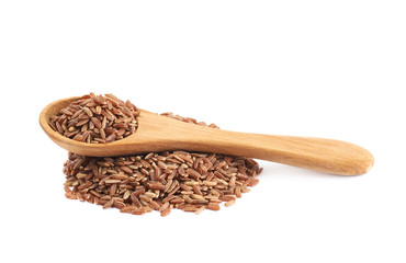 Pile of brown rice grains isolated