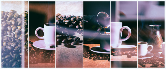 Hot coffee. Coffee turk and cup of hot coffee with coffee beans