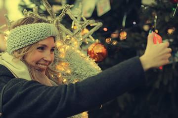 selfie girl New Year Street City