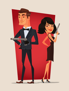 Spy couple characters. Vector flat cartoon illustration