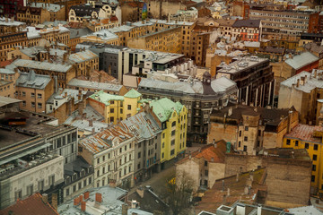 Aerial view of Latvia capital city old town Riga seen from hotel room  travel Europe Baltic countries destinations