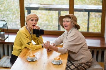 Two senior women taking selfie. Old ladies near cafe window. New model of monopod.