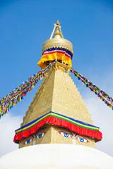 The Wisdom eyes on Boudhanath stupa landmark of Nepal