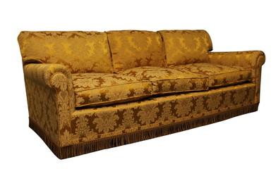 Antique yellow sofa on white background